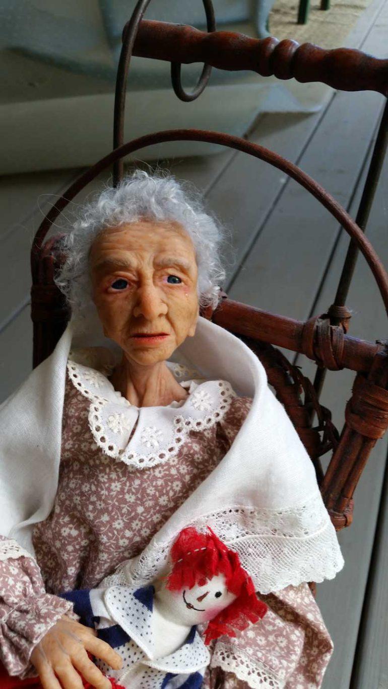 Grandmom art doll by Tina Parsons closeup